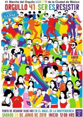 Cartel de la 41 Marcha del Orgullo LGBTTTI de la Ciudad de México / Comité IncluyeT